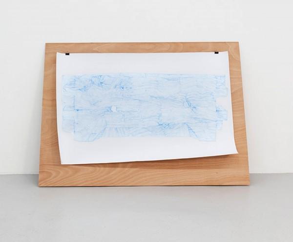 Relevé #9, crayon bleu, canson et contreplaqué, 150x96cm, 2013