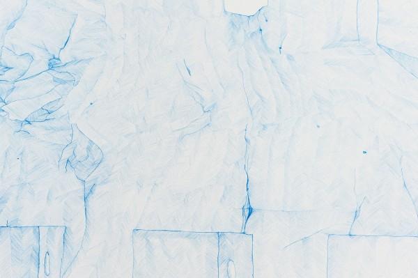 Relevé #9 (Détail), crayon bleu sur canson, 2013