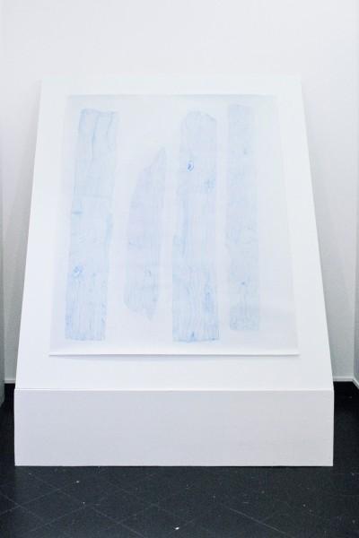 Relevé #20, crayon bleu sur papier canson, 150x120cm, 2015