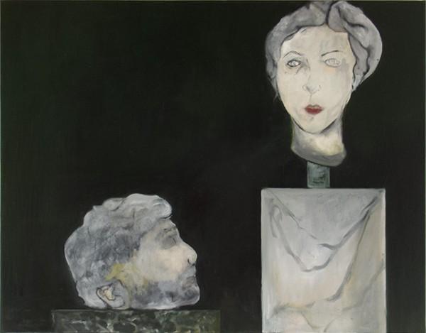 Fragments pour un double portrait #3 (tragédiens) -- huile sur toile, 110x80cm