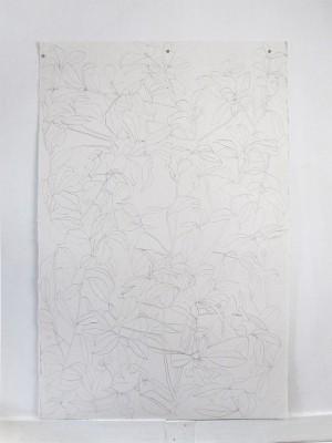 Frondaison #04 152x101, encre de chine sur papier Velin, 2017.