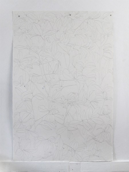 Frondaison #05 152x101, encre de chine sur papier Velin, 2017.